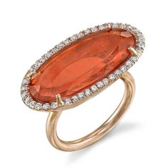One-of-a-kind @Irene Neuwirth ring in rose gold with a Mexican fire opal surrounded by diamond pavé