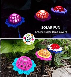 Ravelry: Solar fun flower Lamp cover pattern by Heidi Yates. ﻬஐCQஐﻬ #crochet #spring #crochetflowers #flowers  http://www.pinterest.com/CoronaQueen/crochet-leaves-and-flowers-corona/