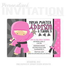 Girl ninja birthday invitations ninja party invitations ninja ninja invitation ninja girl birthday party invitations personalized thank you cards birthday invitations party invitations no353 filmwisefo