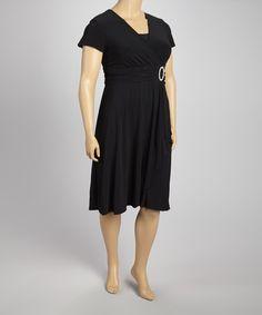 Another great find on #zulily! Black Surplice Dress - Plus by R&M Richards #zulilyfinds