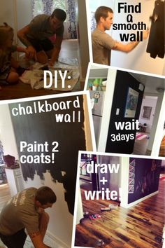 This was such a fun, easy, and cheap DIY! We wanted to change something around the house so we picked up some chalkboard paint at Home depot! It was $9.95. If you don't want to spend that I know pinterest has a recipe to make your own chalkboard paint with any color. We went with the classic black! I wish we would've done this sooner, it turned out so well. Just find a smooth wall, shake up the paint and get a roller. We applied two coats(4 hours between) and waited a few days to fin