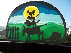 Transparent picture The Bremen Town Musicians by Puppenprofi on - Transparent picture The Bremen Kindergarten Portfolio, Origami, Album Jeunesse, Mysterious Places, Window Art, Xmas Ornaments, Textiles, Party Games, Superhero Logos