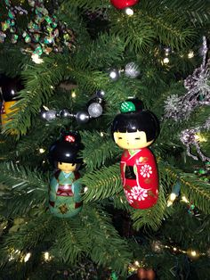 japanese style christmas tree with kokeshi and origami paper ornaments - Japanese Christmas Tree Decorations