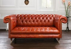 Orange Leather Chesterfield Sofa