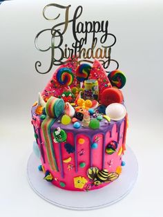 Candyland Birthday Cake Electric Pink with purple chocolate drip Cake Recipes . - Candyland Birthday Cake Electric Pink with purple chocolate drip Cake Recipes … – Candyland Bi - Candy Birthday Cakes, Creative Birthday Cakes, Beautiful Birthday Cakes, Birthday Cake Girls, Chocolate Birthday Cake Kids, Happy Birthday, Torta Candy, Candy Cakes, Cupcake Cakes