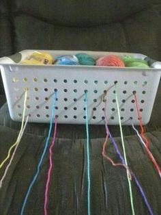 Brilliant idea - will have to try this some time - yarn holder. Much cheaper than a yarn bowl Crochet Crafts, Crochet Yarn, Yarn Crafts, Crochet Stitches, Crotchet, Crochet Tools, Diy Crafts, Yarn Projects, Crochet Projects