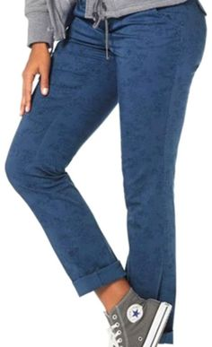 Chino Hose / Sommerhose / Stretchhose in blau Print mit Gürtel Größe 34 (589676)   eBay