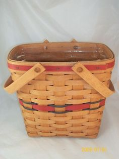 Longaberger 1991 All American Tall Key Two Quart Basket W Protector