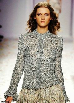 A beautiful, elegant crochet blouse or cardigan.
