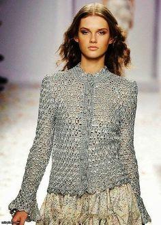 A beautiful, elegant crochet blouse or cardigan.