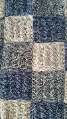 Ravelry: Kaðlabútateppi / cable square blanked by Auður Björt Skúladóttir Knitted Squares Pattern, Knitting Squares, Kids Knitting Patterns, Afghan Crochet Patterns, Loom Knitting, Knitted Baby Blankets, Knitted Blankets, Baby Blanket Crochet, Knit Rug