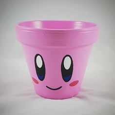 Kirby pot that I painted #kirby #flowerpot #nintendo #epicquests4crafts