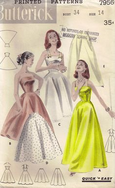 Vintage 1950s Half Slip and Full Slip Butterick by PeoplePackages, $18.00
