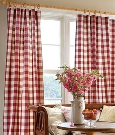 Buffalo Plaid Curtains. Perfection! With lace underlay. And a burlap bow around the middle to hold open so great:)