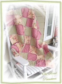 Rag Quilt Tutorial from Old Road Primitives   use old blue tablecloth as the front for guest room