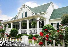 Country Cottage With 3 Porches - 70002CW | Cottage, Country, Farmhouse, Traditional, Photo Gallery, 1st Floor Master Suite, Butler Walk-in Pantry, CAD Available, Den-Office-Library-Study, Jack & Jill Bath, Loft, PDF, Split Bedrooms, Corner Lot | Architectural Designs