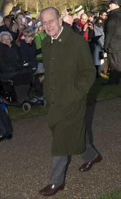 Prince Philip, Duke of Edinburgh joined his family on the walk to church to attend the Royal Christmas day service 2013 at Sandringham