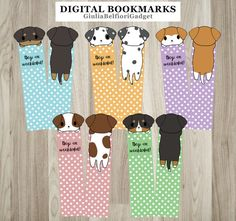 Five cute digital bookmarks with lovely kawaii dogs! On front of these quote bookmark there is the phrase Dogs are woofderful!. Reading has never been so pleasant! Use these funny book accessories to never lose the page youre reading! If youd like some modifications, contact me, Ill do my best to please you! WHAT YOU OBTAIN: - A zip file that contains 1 file which represent the front view of every different bookmark purchased and another 1 for every back view. Files are .png of 762x2499…