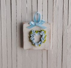 Miniature Shabby Chic Rose Heart, could make from those bunches of blue flowers I got at pop