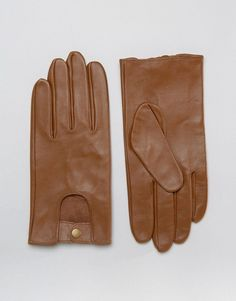 ASOS Leather Driving Gloves In Tan - Tan