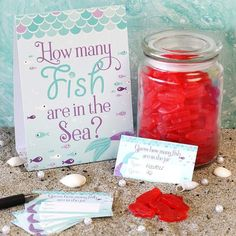 Feb 2020 - Shop party games for a mermaid baby shower or mermaid birthday party, including an adorable how many fish in the sea mermaid party game to play like a how many kisses in the jar game. Mermaid Theme Birthday, Little Mermaid Birthday, Little Mermaid Parties, Baby Mermaid, Mermaid Themed Party, Mermaid Party Games, Mermaid Party Decorations, Beach Party Games, Hawaiian Party Games