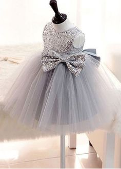 Attractive Sequin Lace Jewel Neckline Ball Gown Flower Girl Dresses With Bowknot