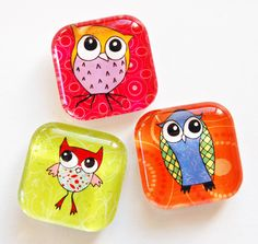 Owl Magnets Fridge Magnets Owls Glass Magnets by KellysMagnets, $6.50