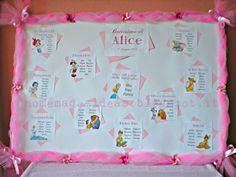 Tableau con personaggi Disney per il Battesimo di Alice