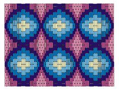 bargello stitch diagram | This pattern is stitched in 6 tones of the same color. The stitching ...