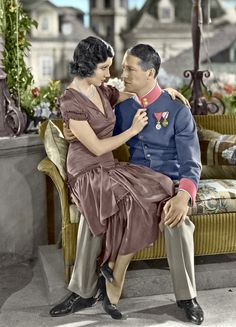 """1931 - Claudette Colbert and Maurice Chevalier in """"The Smiling Lieutenant"""". Colorized by Luiz Adams. Vintage Movie Stars, Vintage Movies, Female Fashion, Womens Fashion, Claudette Colbert, Cinema, Face Forward, Movie Theater, In Hollywood"""