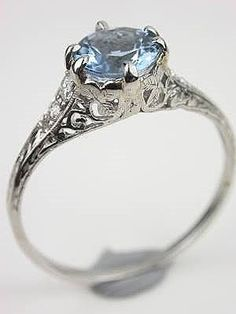 Browse our entire collection of antique engagement rings and vintage engagement rings, all in one place. Antique Aquamarine Ring, Aquamarine Jewelry, Aquamarine Wedding, Emerald Rings, Ruby Rings, Birthstone Jewelry, Gold Rings, Filigree Engagement Ring, Antique Engagement Rings