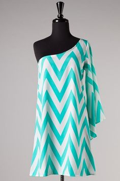 Mint and White One Shoulder Chevron Dress