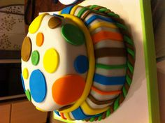 Baby's First Bday cake for a friend's baby boy, made by yours truly :)