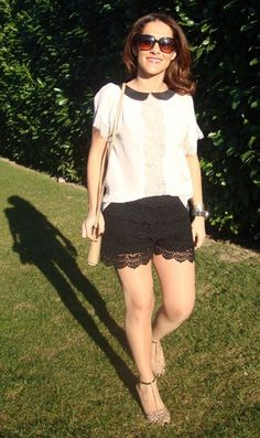 Short Renda e Camisa Bicolor Gola Peter Pan - Zara