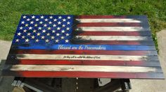 """Wooden American Flag - """"Thin Blue Line"""""""