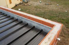 Terrasse V G Talis E auf beeindruckendem Bassin Garage Flat Roof Steel Basin - ROOF - Anbau Shed Design, Garage Design, Roof Design, House Extension Plans, Roof Extension, Flat Roof Construction, Flat Roof House Designs, Shed Cabin, Carport Garage