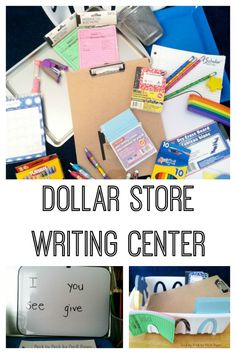 Dollar Store Writing Center Ideas for Preschool. How to create a writing center with dollar store items at home or in the classroom.