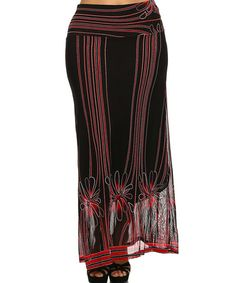 20 Look what I found on #zulily! Red & Black Floral-Overlay Maxi Skirt - Plus by BellaBerry USA #zulilyfinds