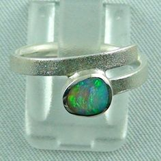 Sterling Silberring mit Top GEM Black Crystal Opal 0,64 ct-Immer ein Unikat