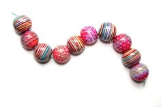 Summer stripes set of 10 round beads peachy pink made by JustMade, $125.00