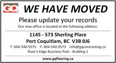 We Have Moved!!! Our new office is located at the following address:  1145 - 573 Sherling Place Port Coquitlam, BC V3B 0J6 River's Edge Business Park - Building 1  T: 604-540-9575 F: 604-540-9573 info@gqcontracting.ca Events, River, Park, Business, Building, Buildings, Parks, Store, Business Illustration