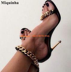 Women New Design Gold Chain Design High Heel Sandals Ankle Gold Chain Wrap Stiletto Heel Sandals Formal Dress Shoes Evening Shoe