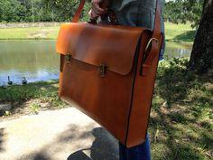 Portfolio Brief Case Messenger Bag Genuine by HeirloomLeather, $339.00