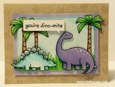 You're Dino-mite Materials used: Stamps - Critters from the Past (Lawn Fawn); and Copic Markers. Boy Cards, Kids Cards, Men's Cards, Homemade Birthday Cards, Birthday Cards For Boys, Paper Craft Making, Paper Crafting, Dinosaur Birthday Invitations, Dinosaur Cards