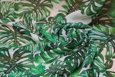 "Beautiful Summer Silk Fabric - 55""width Tropical Leaves Chiffon - 100% fine silk chiffon fabric for Dresses/blouses/skirts/Scarf - 1 yard $29"