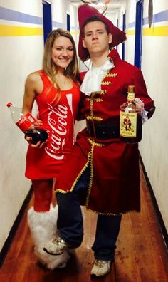 creative halloween costume diy captain morgan and coke couples outfit lacee and beau with crownking costume instead of captain