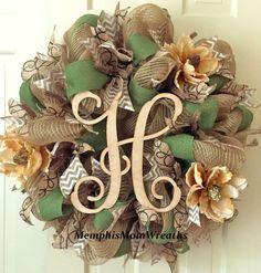 Custom Monogram Burlap Deco Mesh Wreath by MemphisMomWreaths