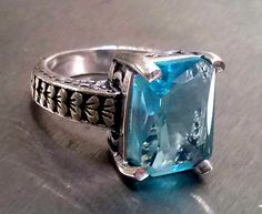 Size 6.5 Shabby Chic Heart Motif Genuine Blue by GemstoneDazzle, $28.00