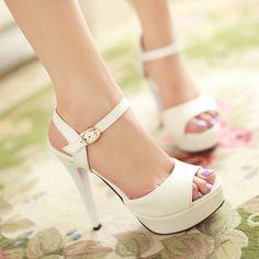 Sandálias femininas verão sensuais de salto alto saltos finos sapatos de plataforma branco sapato dedo aberto das mulheres