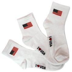 Women's White 3 Pack I Love Use Flag Ankle Socks Best Quality. $8.99